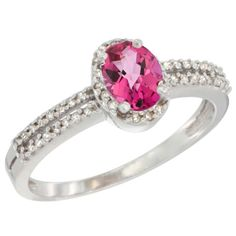 10K White Gold Natural Pink Topaz Ring Oval 6x4mm Diamond Accent, sizes 5-10 -- Remarkable product available now. : Promise Rings Jewelry