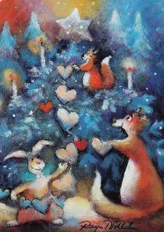 Raija Nokkala Pictures To Paint, Cute Pictures, Fashion Painting, Christmas Illustration, Pastel Art, Funny Art, Christmas Greetings, Love Art, Artsy