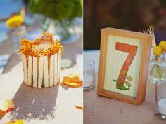 Lil orange flowers in clothespins! - Orcutt Ranch Wedding