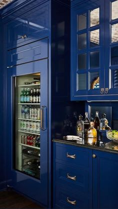 Wet Bar Cabinets, Blue Cabinets, Black Kitchens, Cool Kitchens, Black Granite Countertops, Home Bar Designs, Contemporary Bar, Wet Bars, Blue Rooms