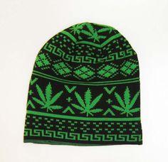 marijuana leaf christmas beanie