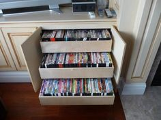 Dvd Storage Cabinet, Dvd Storage Shelves, Dvd Storage Case, Pull Out Shelves, Ikea Dvd Storage, Storage Units, Book Storage, Storage Rack, Dvd Movie Storage