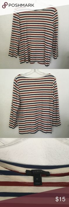 J. Crew Red and Blue Striped Long-Sleeve Only worn once! From J. Crew, long sleeve with red, white and blue stripes. J. Crew Tops Tees - Long Sleeve