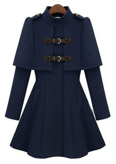 To find out about the Navy High Neck Long Sleeve Buckle Strap Cloak Coat at SHEIN, part of our latest Outerwear ready to shop online today! Street Style Outfits, Cool Outfits, Navy Coat, Blue Coats, Mode Hijab, Mode Vintage, Coat Dress, Mode Inspiration, Mode Style