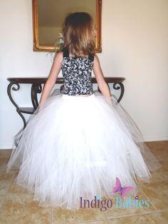 Flower Girl Dress, Weddings, Tutu Dress, Ivory Tutu, Cream Tulle, Black Satin Top, Reception, White Ballerina, Bridesmaids Tutu, Wedding via Etsy