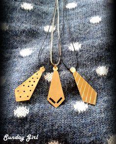 Tie brass necklaces