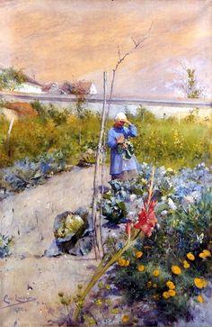 Carl Larsson, Grez-sur-Loing - Kitchen Garden, 1883