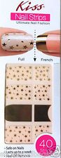 Kiss Nail Stick on Applique Strips French or Full 40 Strips DMT 542 Gold Stars