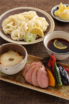 Japanese noodles, Udon set meal 手打ちうどんで涼を味わう