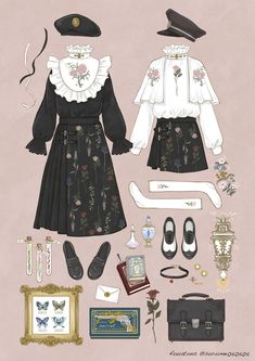 New Fashion Illustration Sketches Dresses Style 48 Ideas Vintage Fashion Sketches, Fashion Illustration Sketches, Fashion Design Drawings, Anime Outfits, Cute Outfits, Kleidung Design, Estilo Lolita, Clothing Sketches, Drawing Clothes
