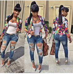 Blazer + ripped jeans my fashion style fashion, fashion outfits, style. Curvy Fashion, Look Fashion, Plus Size Fashion, Autumn Fashion, Girl Fashion, Fashion Outfits, Womens Fashion, Fashion Trends, Fashion Black