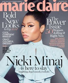 Nicki Minaj in Balmain Fall 2016 on the November 2016 Cover of Marie Claire Magazine V Magazine, Magazine Covers, Shawn Mendes, Vanity Fair, Nicki Minaj Makeup, Marie Claire Magazine, Dark Man, Taraji P Henson, Jessica Williams