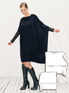 Porsche Design Lace Up Boots worn with Burda Oversize Asymmetric Dress 12/2015 #119  Must have these boots :)