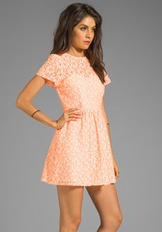MM COUTURE BY MISS ME Short Sleeve Lace Dress in Orange - Dresses