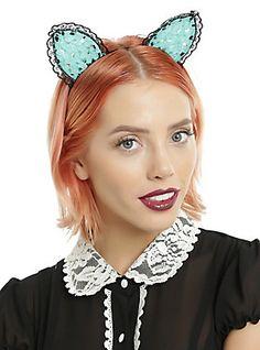 Mint & Black Lace Cat Ear Headband,