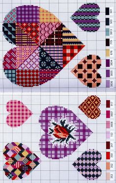 Cross-stitch Patchwork Hearts... GRAFICOS PUNTO DE CRUZ GRATIS : CORAZONES(47)
