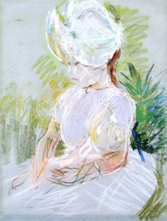 Berthe Morisot - Little Girl in a White Sun Bonnet - 1885 - Private collection Mary Cassatt, Manet, Renoir, Berthe Morisot, French Impressionist Painters, Art World, Vignettes, Les Oeuvres, Painting & Drawing