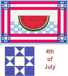 Create cooling watermelon applique for our of July placemat. Features an Ohio star quilt block. Small Quilt Projects, Quilting Projects, Sewing Projects, Quilting Ideas, Sewing Ideas, Star Quilt Blocks, Star Quilts, Watermelon Quilt, Place Mats Quilted