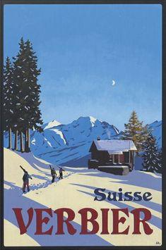 Another cool ski poster. #Verbier #ski Art by Verbier's Lucy Dunnett. www.dd-art.ch