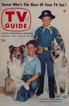 TV Guide - July 2-8, 1955 Lassie with Jeff played by Tommy Rettig and Rin Tin Tin with Rusty played by Lee Aaker.