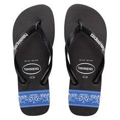0cbd08bc84dd02 Havaianas Stripes (Bandana) Black White Blue Thongs. Step into summer in