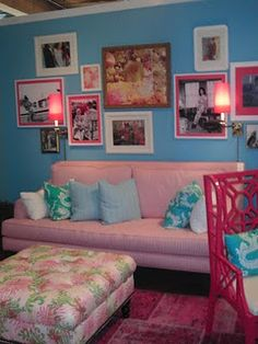 Lilly Pulitzer inspired living room for my bachelorette pad? Don't mind if I do.