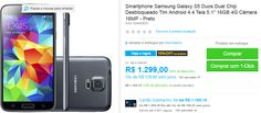 "Samsung Galaxy S5 Duos Dual Chip Android 4.4 Tela 5.1"" 16GB 4G Câmera 16MP << R$ 116910 >>"