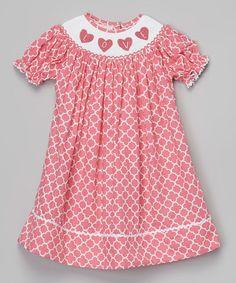 241799231 Pink Quatrefoil Heart Smocked Bishop Dress - Infant &