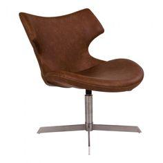 Køb House Nordic Zampi Lænestol - i brunt kunstlæder - pris & tilbud her! Industrial Dining Chairs, Metal Chairs, Pouf Design, Chair Design, Chaise Gaming, Egg Chair, Pu Leather, Relax
