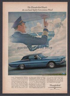 1966 Vintage Ford Thunderbird Pilot in Cockpit overhead panel Car Print 1965 AD