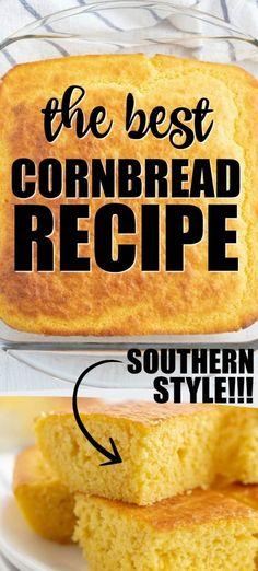 cornbread Cornbread Recipe From Scratch, Easy Cornbread Recipe, Homemade Cornbread, Cornbread Recipe With Canned Corn, Creamed Corn Cornbread, Cornbread Muffins, Savory Muffins, Snack Recipes, Southern Food