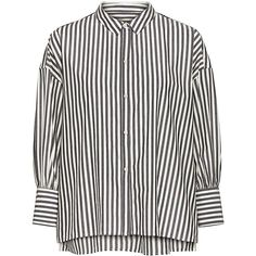 Nili Lotan - Fulton Striped Shirt (1.365 RON) ❤ liked on Polyvore featuring tops, striped oxford shirt, white oxford, white striped top, stripe shirt and oversized shirt