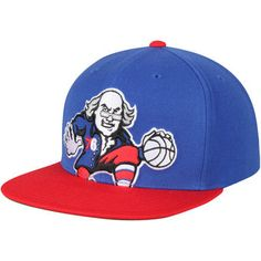 Men's Philadelphia 76ers Mitchell & Ness Royal/Red Cropped XL Logo Adjustable Snapback Hat