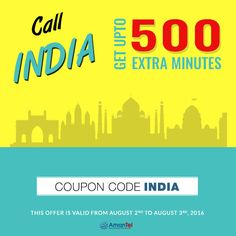 """#IndiaCallingCard - #Amantel is offering Extra Minutes, Use this Coupon Code: """"INDIA"""" and Get UPTO 500 extra Minutes for make cheap calls to India from USA or Canada and enjoy - Know more, visit here - http://amantel.com/offers/call-india-2-16.html"""