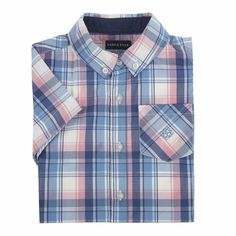 Andy & Evan Toddler Boys Madras Plaid Shirt - Blue & Pink