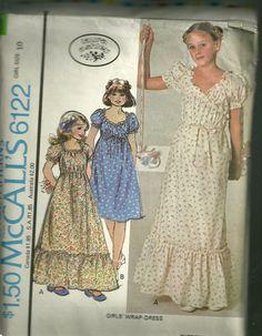McCall's RETRO Girl's Pattern Sz 10 Factory Folded UNCUT Laura Ashley Wrap Dress 2 Lengths Uncut.