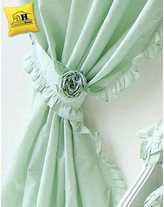 Set di due tende Shabby Chic Blanc Mariclo Sorbetto Collection Verde Acqua 150 x 290 cm - Dressing Home