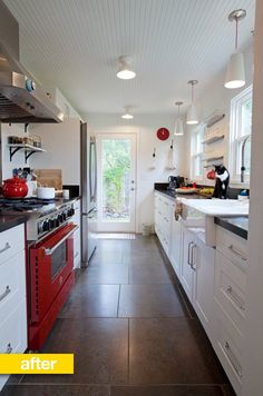 Redone galley kitchen -- love the lengthwise plank ceiling to make the kitchen feeling open and keep the movement