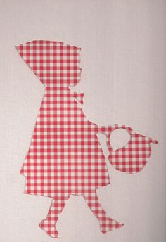 Gingham cutout of Lil Red. Scrapbook paper and modge podge onto a canvas. Love!