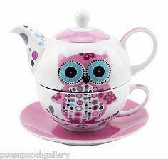 Con Dibujo de Búho Té para Uno-China Tetera & Taza Y Platillo Set Rosa Y Blanco | Objetos de colección, Animales | eBay!