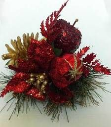 Red glitter apple for Christmas gifts and decoration shop online Rs 350