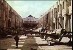 AN AMAZING PICTURE ! Factory of Focke-Wulf in Bremen, captured by Allied troops at the end of World War II. May 1945.