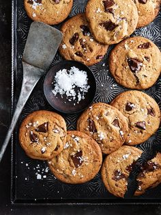 Donna Hay's salted caramel choc-chip cookies will disappear as soon as they appear on the table! Best Cookie Recipes, Sweet Recipes, Baking Recipes, Donna Hay Recipes Baking, Kitchen Recipes, Caramel Chocolate Chip Cookies, Salted Caramel Chocolate, Salted Caramel Slice, White Chocolate