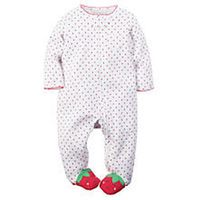 Carter's Girls White Allover Strawberry Print Zip Up Footie with Strawberry Foot Detail