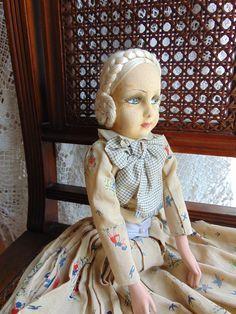 Vintage Puppen - Seltene Kinder-Boudoir Puppe - ein Designerstück von Montiem bei DaWanda