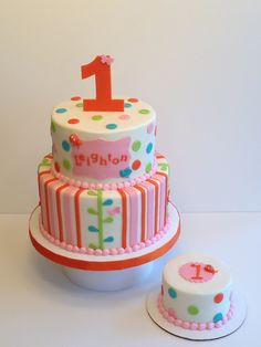 1st birthday cake made to match party decor. Pink, orange, green and blue.