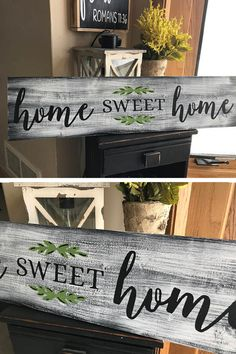 Beautiful Home Sweet Home Rustic Country Fixer Upper Style Farmhouse Wood Sign 30 inches long! #farmhouse #rustic #homedecorating #ad