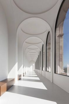 There is something so entrancing about the archways in this project featured by the Neue Galerie in Kassel by German Architect Volker Staab of Staab Architekten Photo © Werner Huthmacher via ​. Architecture Design, Amazing Architecture, Arch Building, Building Ideas, John Pawson, Light And Space, Light And Shadow, Interior And Exterior, Interior Design