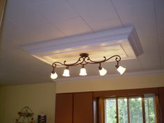 Tin Ceiling Accent A Way To Cover Up An Old Ugly Kitchen Dome Light - Kitchen ceiling light box