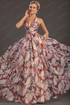 evening dresses eDressit New Gorgeous Printed Halter V-neckline Evening Dress Elegant Dresses, Pretty Dresses, Casual Dresses, Summer Dresses, Formal Dresses, Evening Dresses For Weddings, Evening Gowns, Beautiful Gowns, Beautiful Outfits